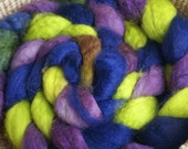 4 ounces of Purple, Navy and Green 100% Superwash BFL Wool Roving - Zoanthus sociatus - Button Polyp