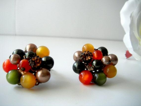 Vintage Pair of Multicolored Cluster Clip Earrings
