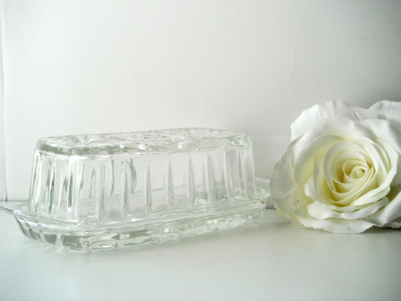 Anchor Hocking Crystal Prescut Butter Dish
