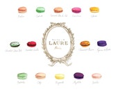 Macaron Flavors Laduree Menu Chart Watercolor Painting - Digital Print 8 x 10 Laure