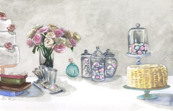 Macarons, Roses, Cakes & Glass Domes on a Grey Dessert Table ORIGINAL Watercolor Painting 5.5 in x 7.5 in - FREE Shipping