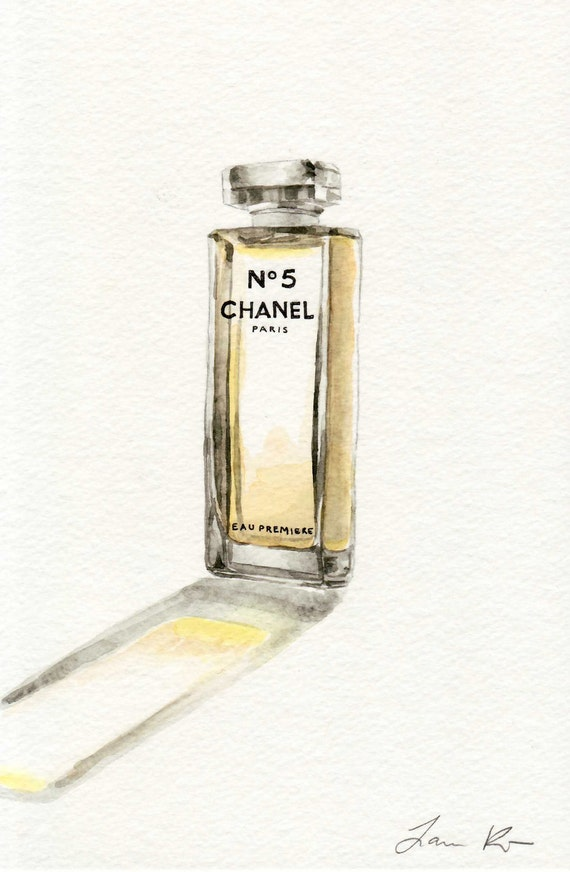 Chanel Glass Perfume Bottle No. 5 Eau Premiere - ORIGINAL Watercolor 6 x 9 - Glass Sheer Pale Yellow