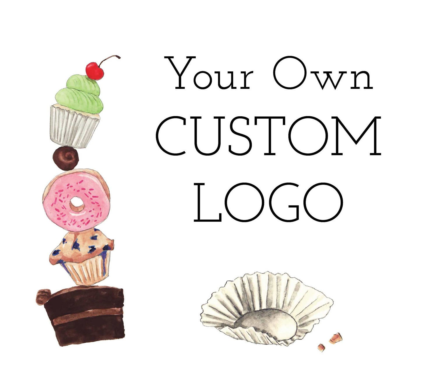 custom logo design for bom bom bakery cakes sweets