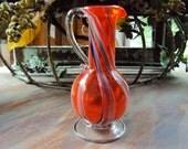 Swirly Orange Art Glass Footed Blown Bud Vase Ewer