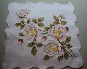 MWT Scalloped Hanky Pastel Roses