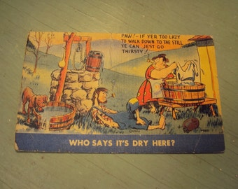 Vtg MWM Color Litho Postcard, Who Says It's Dry