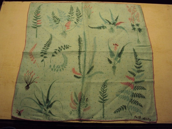 Vtg. Faith Austin Hanky, Fern and Flora