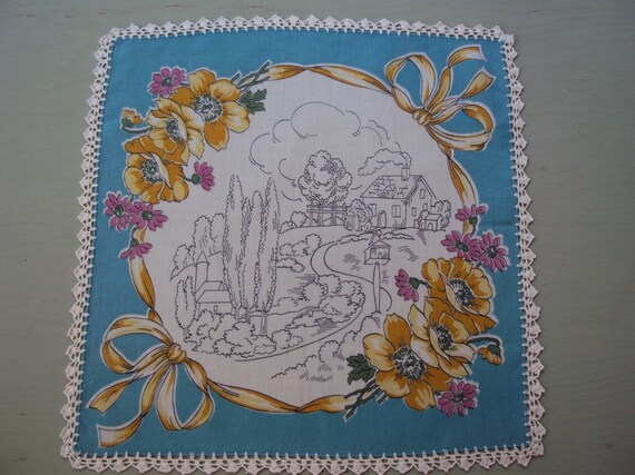Vtg. Hanky, Country Cottage Crocheted Border