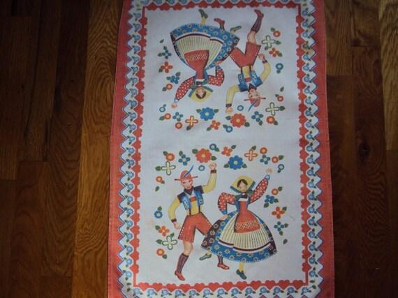 RESERVED FOR Q  Vtg. Tea Towel, Dancing European Couple
