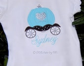 Adorable Girly Princess Carriage Applique with Crystal Embellishment, Custom Personalization