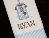Custom Monogrammed Burp Cloth with Personalized Jon Jon Applique Embellishment