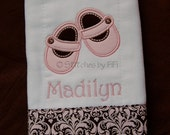 Custom Monogrammed Burp Cloth with Appliqued Mary Jane Shoes Embellishment
