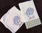 Infant Gift Set includes Onesie & Burp Cloth with Cute Lion Applique and Custom Personalization
