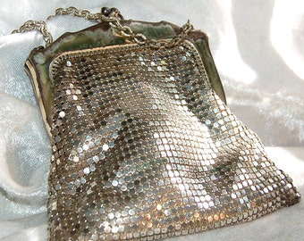 Antique Whiting & Davis Small Silver Metal Mesh Evening Bag - Purse - Handbag -