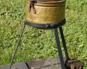 Authentic Antique Handmade Brass Kettle with Contemporary Hand Forged Iron Stand - Rare