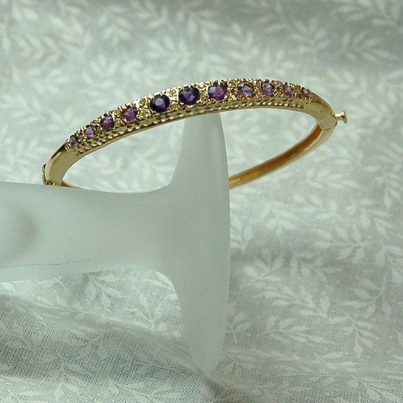 Vintage 14K Estate Amethyst And Diamond Bangle Bracelet