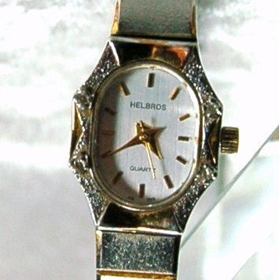 Vintage Helbros Ladies Diamond Quartz Watch   Cleaned and Tested