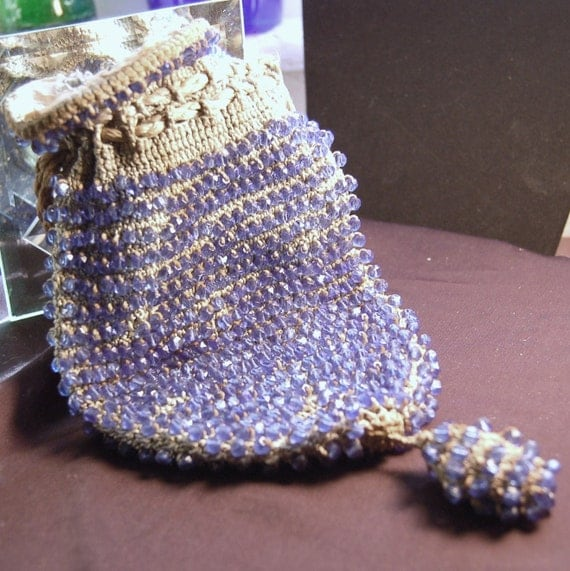 Antique Crocheted Blue Glass Beaded Purse - 1890s - Authentic and Original Condition -Wristlet