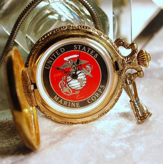 Vintage US Marine Corps  Quartz Pocket Watch -   Working