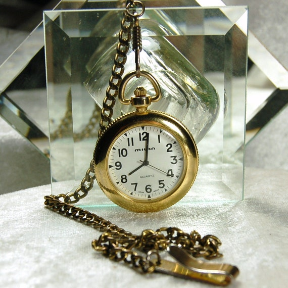 Vintage Open Faced Milan Quartz Pocket Watch -  Excellent Condition and Working