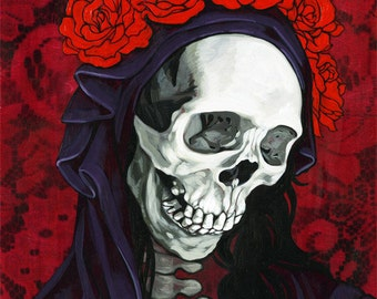 Santa Muerte in red, limited edition giclee print
