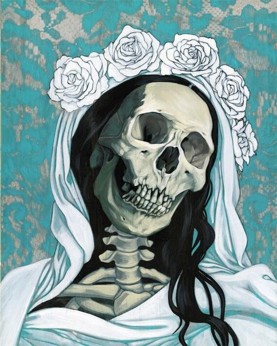 Santa Muerte in white, original painting on panel