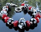 Lampwork Bead Bracelet Handmade Glass Handcrafted Artisan Wearable Art Jewelry SRA and SRAJD member
