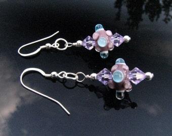 Lampwork Glass Earrings Handmade Flamework Beads Wearable Art Jewelry SRA / SRAJD