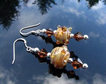 Lampwork Earrings Handmade Glass Beads Handcrafted Wearable Art Jewelry SRA / SRAJD