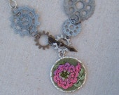 Embroidered Peony Necklace with Gear wheels Steampunk inspired