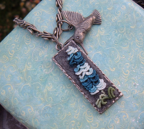 Hummingbird Necklace with Blue Lupine Flower Hand Embroidered Jewelry