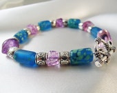 "RESERVED FOR JEN - Bright Beaded Bracelet - Purple Glass Beads, Blue and Green Speckled Glass Beads, Pewter Beads and Toggle - ""Mermaid"""
