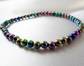 "Iridescent Stretch Bracelet - Dark Hued Iridescent Acrylic Beads, Layering - ""Goddess"""