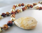 "Caramel Necklace and Earrings Set - Semi-Precious Pendant, Goldstone and Glass Beads, Rose Gold Earrings - ""Caramel"""