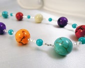 Multi-colored Howlite Necklace - Bright Stone and Silver Seed Beads - Item 096