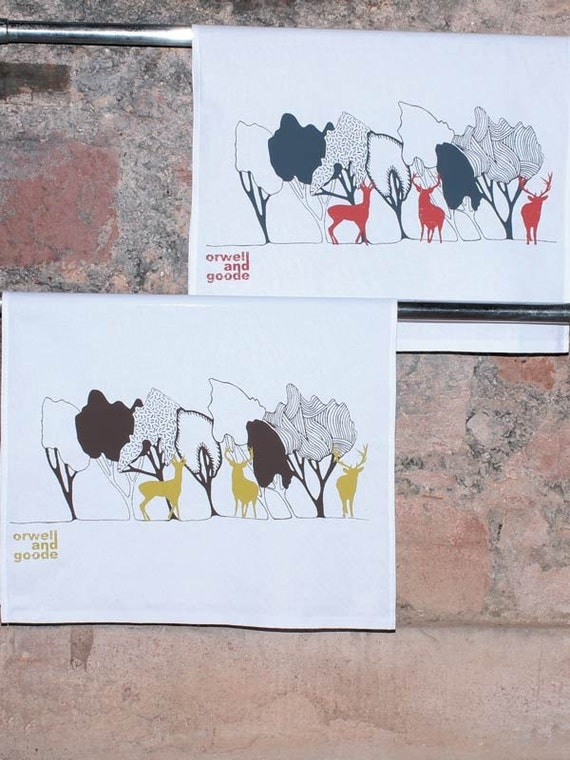 Cotton Tea Towel Stags In the Woods. Hand screen printed