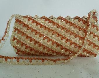 Beaded Handbag Brown, Beaded Purse, Shoulder Bag, Hand Bag, Beaded Bag, Striped Bag, Beadwork Purse, Elegant Beaded Purse, Bead Handbag