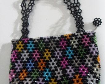 Beaded Rainbow Handbag, Colorful Purse, Shoulder Bag, Beadwork Shoulder Bag, Beaded Purse, Beaded Shoulder Bag, Colorful Diamond Bead Purse