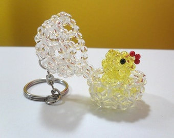 Beaded Hatching Chick, Easter Chick, Chick in Egg, Peek A Boo Keychain, Chick Keychain, Easter Chick Keychain, Bead Hatching Chick Keychain