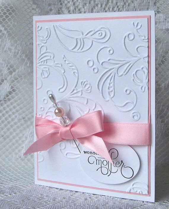 Elegant mother 39 s day card pink reserved for renee for Classy mothers day cards