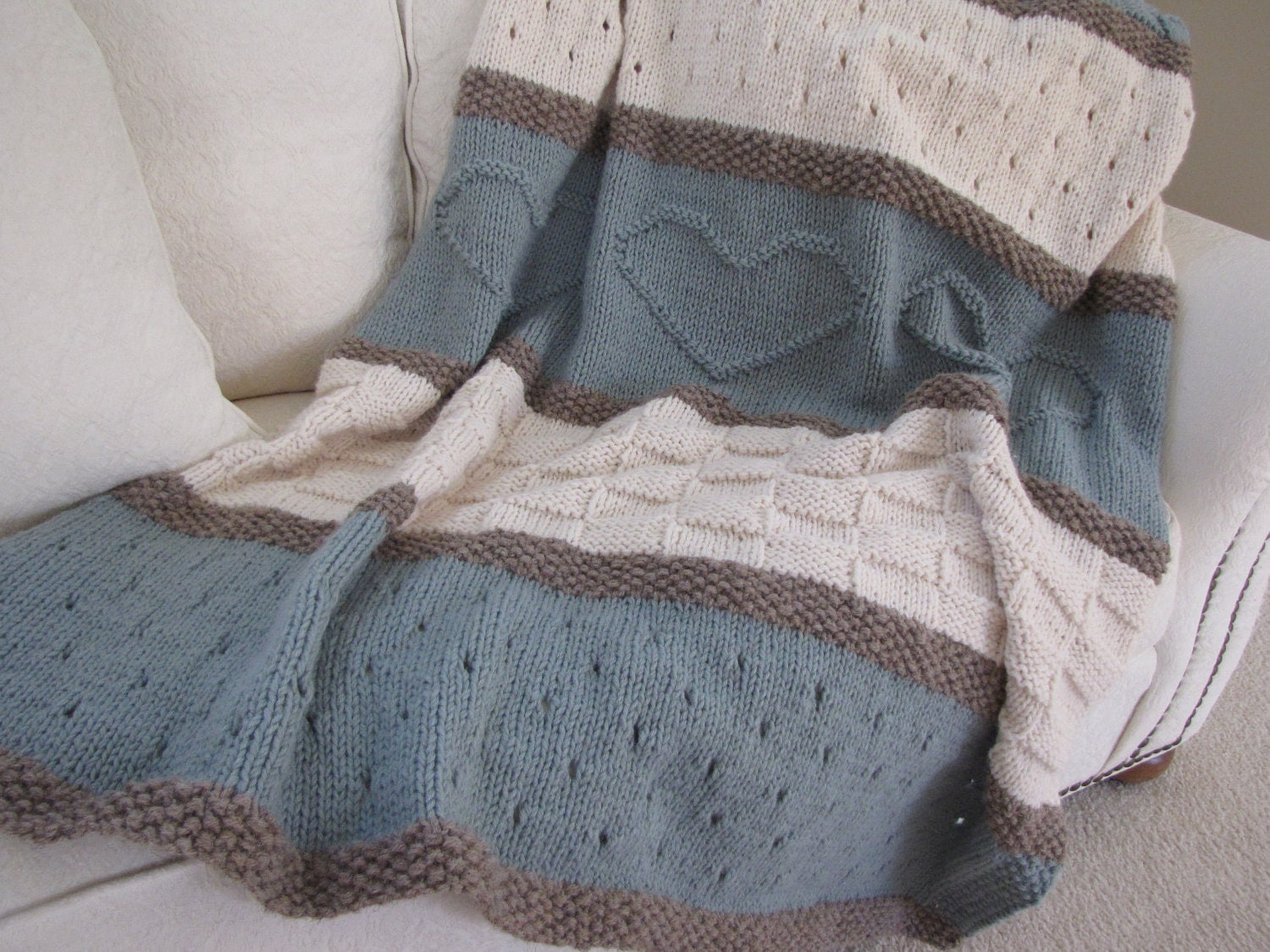 Knitting Pattern Blanket Throw : Seaside Blanket Pattern knit blanket knit by TheKnittingCloset