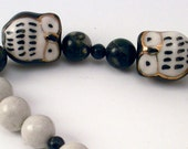 Two Owls Together black & white gemstone handmade bracelet