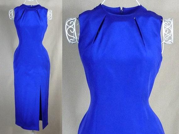 Vintage 90s Royal Blue Silk Cocktail Dress, Size 4-6