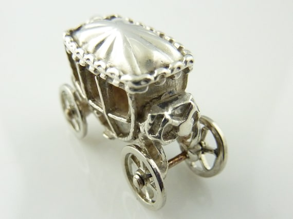 Vintage Sterling Silver Carriage Charm Moving Wheels