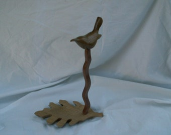Jewelry Stand, Carved Bird and Oak Leaf Shape Base Jewelry Stand, Necklace Holder