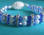 Double Strand Blue and Pearl Rhinestone Bracelet