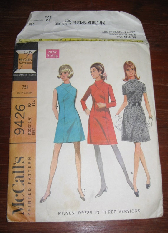 McCalls 9426 Misses' size 10 bust 32 1/2 inch dress in three versions pattern 1968