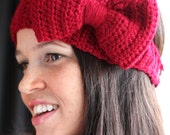 Burgundy Red  Crochet Headband/Earwarmer with a Large Bow - Winter 2012