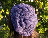 "Cable & Rib Slouch Hat in ""Morning Glory""  (Purple Tweed)"