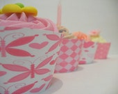 Fluted Cake Wraps- Pink set of 12